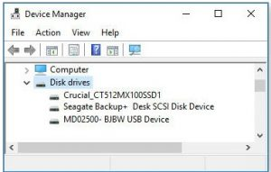 The Windows 10 Device Manager showing the computer's three disk drives.