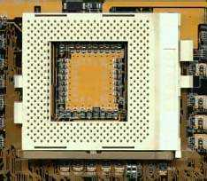 Intel Socket 370 ZIF processor socket on a motherboard