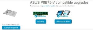 Crucial Advisor Tool - Memory and SSD compatibility result for the Asus P8b75-V motherboard