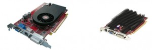 Graphics cards - fan-cooled (left) and passive-cooled