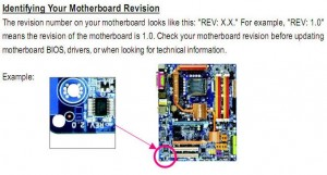 How to identify the motherboard revision in order to be able to obtain the correct updated BIOS file