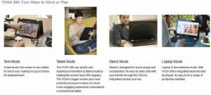 The usage modes of the Lenovo Yoga range of laptops-cum-tablets