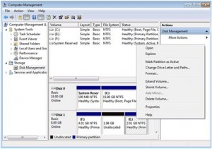 The Disk Management console in Windows 7