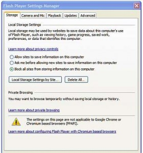 Flash Player warning that the online Global Settings Manager has to be used to set it for Google Chrome browser