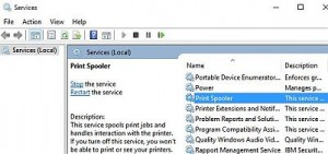 Controlling the Print Spooler service in Windows 10