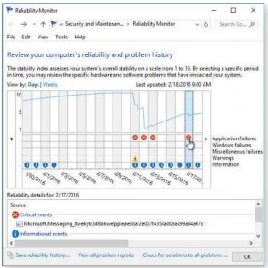 Windows Vista/7/8.1/10 Reliability Monitor showing its options, errors, warnings and information