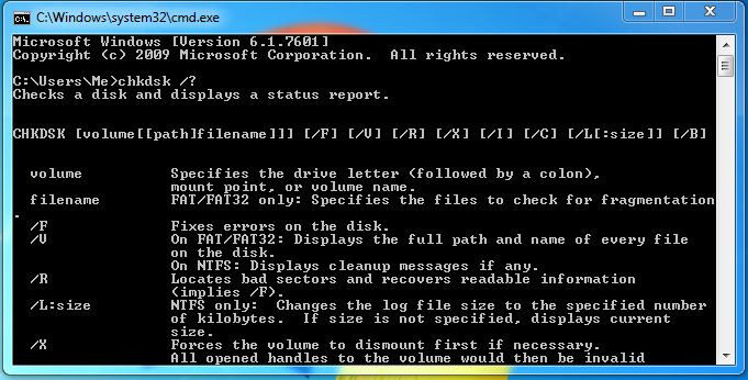 The Command Prompt switches available for the chkdsk hard-drive diagnostic tool