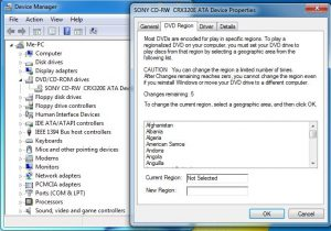 Unlock the region - Device Manager - right-click on the CD/DVD drive - DVD Region tab