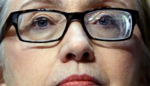 Hillary Clinton, not made-over, wearing prescription glasses