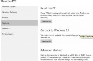 """Recover Windows 10 - """"Reset"""" Windows 10 """"Recovery"""" option"""