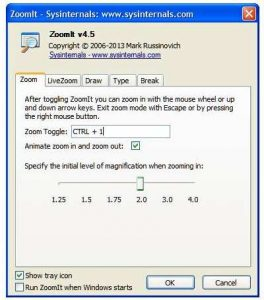 Windows screen magnifiers: ZoomIt showing its options tabs