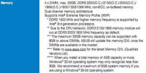 Missing memory - The memory information from the user manual of an Asus P8b75-V motherboard