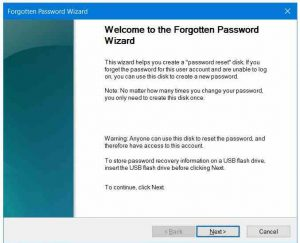 Password recovery - Create a password reset flash drive in Windows 10