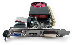 A PCI Express AMD Radeon HD 6450 graphics card with digital DVI-D, DisplayPort and analog VGA output ports