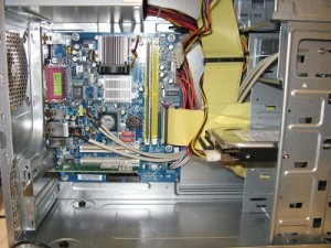An ATX motherboard installed inside an ATX PC case