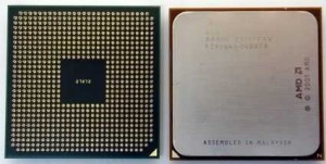 Top and bottom views of an AMD Athlon 64 processor
