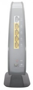 Back view of a Belkin Wireless N450 (802.11n) ADSL modem router