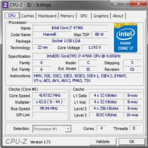 CPU-Z component identification and information tool for processor, motherboard, memory and graphics