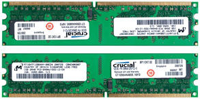 Crucial DDR2 RAM memory modules that fit into keyed DIMM slots on the PC's motherboard but only if it supports DDR2 memory