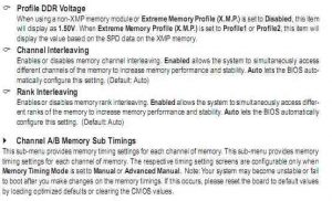UEFI/BIOS memory settings from the BIOS section of the user manual of a motherboard made by Gigabyte