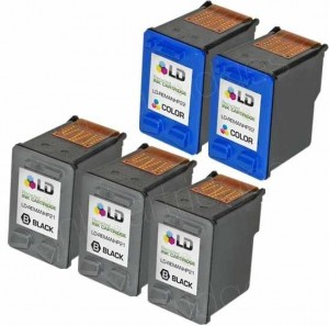 Original HP 21 & HP 22 cartridges re-manufactured and re-branded showing the electronics used by the printhead