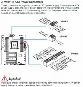 MSI user manual showing where the three power connectors are located on the motherboard