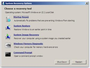 Laptop won't boot: The System Recovery Options provided by a Windows 7 repair disc