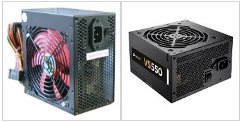 Diagnose a dead power supply unit (PSU) - Showing a standard (left) and modular PSU (right)