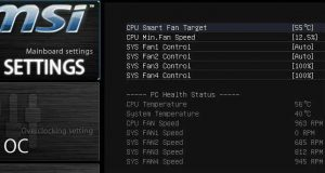 The fan control settings that an MSI motherboard's UEFI BIOS provides