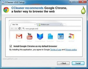 CCleaner can install the Google Chrome web browser and other software by default unless the setting is disabled during installation