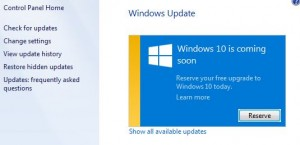 Reserve (Windows 10) button in Windows Update in the Control Panel of Windows 7/8.1