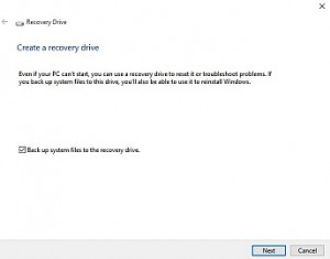 The window in Windows 10 that allows the creation of a Recovery Drive