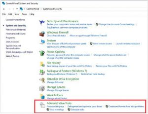Access to Windows 10 Administrative Tools