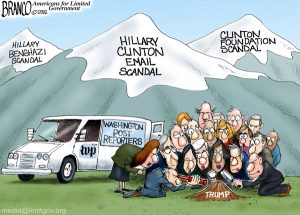 Hillary Clinton scandals mountain versus Trump media-frenzy mole hill