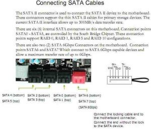 Page in EVGA X58 SLI3 motherboard user manual on its SATA 2.0 and 3.0 ports