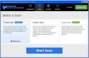 The scanning options provided by the free Malwarebytes malware scanner listing what it scans