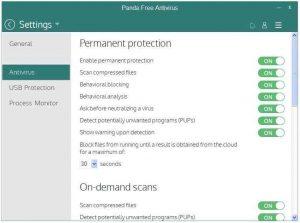 Panda Free Antivirus malware infections scanner