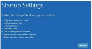 Control device driver installation by disabling driver signature enforcement in Windows 8.1/10