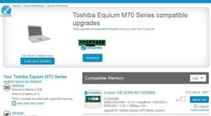 Dead laptop - Toshiba Equium M70 Series upgrades - only RAM memory, not SSD
