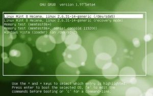 Linux Mint 8 Helena boot menu