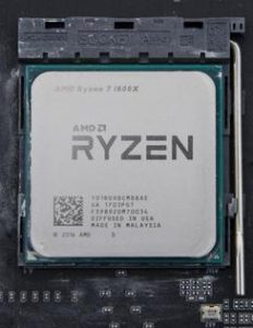 AMD Ryzen processor in its AM4 motherboard socket
