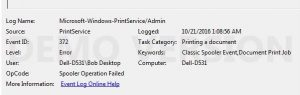 Wireless printer problem - Windows 7 Event Viewer showing the Microsoft-Windows-PrintService/Admin log