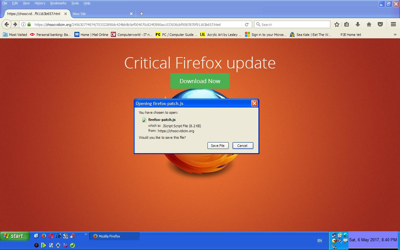 Phony Critical Firefox update message - PC Buyer Beware!