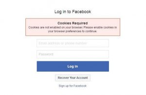 Facebook cookies - message that appears after entering your user name and password in Facebook that prevents login