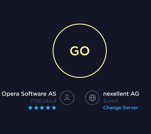 Speedtest.net provides the location of the Opera VPN