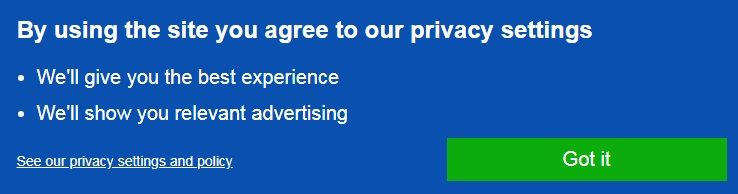 The first privacy message the Daily Mail brings up