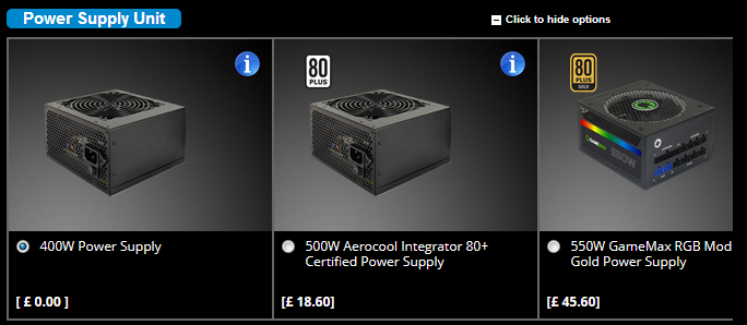Showing the PSU options for a PC made by a system builder