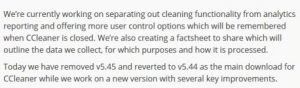 Avast announcement of its intentions with regard to CCleaner