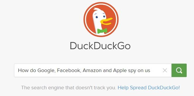 DuckDuckGo search engine's home page
