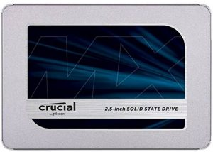 Crucial MX500 internal 2.5-inch form- factor SATA SSD drive for a desktop or laptop PC - £60 for 500GB in Jan. 2019